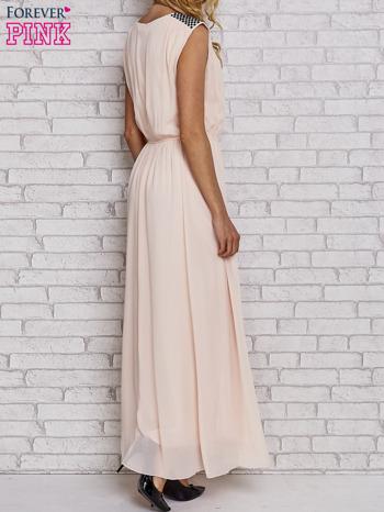 Różowa sukienka maxi z pagonami z dżetów                                  zdj.                                  4