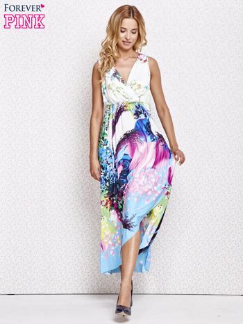 Różowa sukienka maxi z trójkątnym dekoltem                                  zdj.                                  2