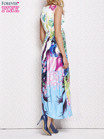 Różowa sukienka maxi z trójkątnym dekoltem                                  zdj.                                  4