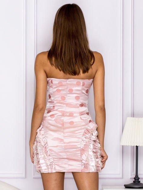 Różowa sukienka w grochy z falbanami                              zdj.                              2