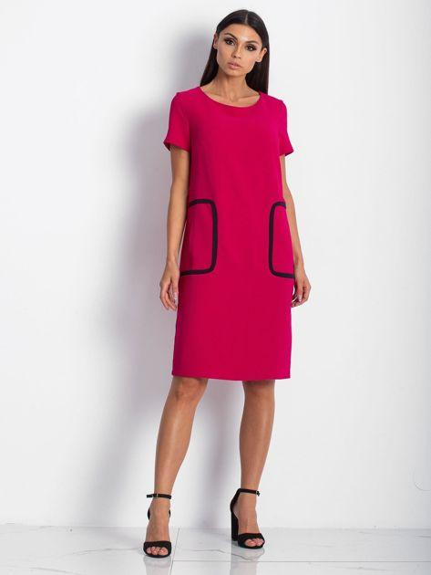 Różowa sukienka z kieszeniami                               zdj.                              1