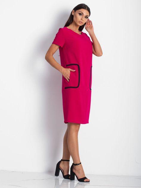 Różowa sukienka z kieszeniami                               zdj.                              2