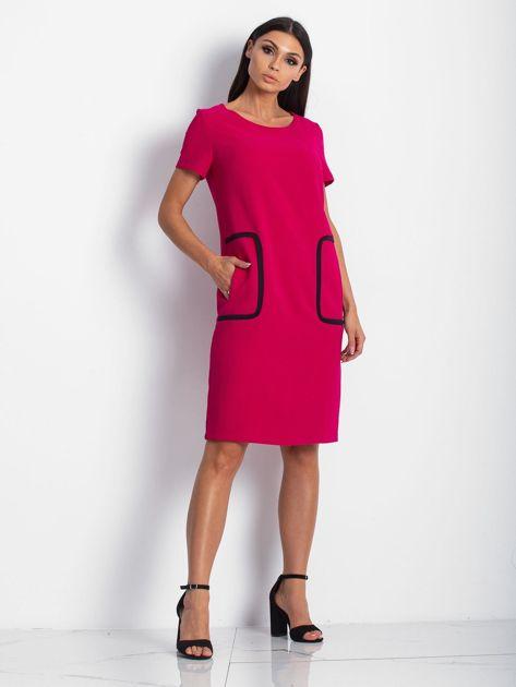Różowa sukienka z kieszeniami                               zdj.                              5
