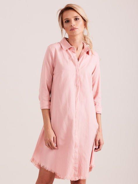 Różowa sukienka zapinana na guziki                              zdj.                              1