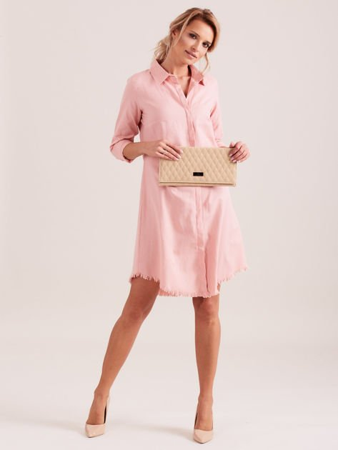 Różowa sukienka zapinana na guziki                              zdj.                              4