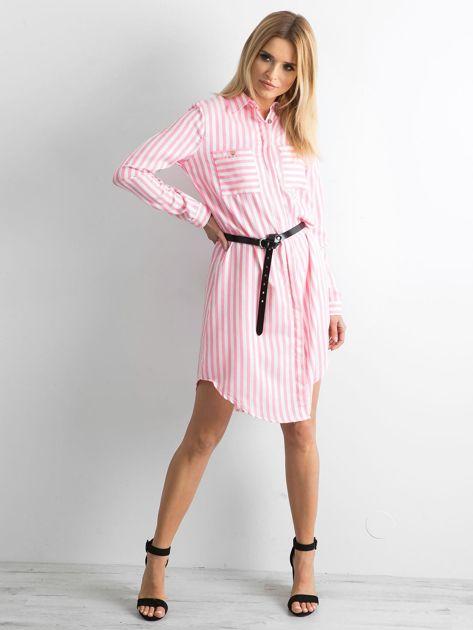 Różowa szmizjerka koszulowa w paski                              zdj.                              4