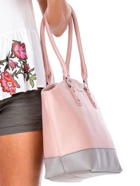 Różowa torba damska two tone                              zdj.                              2