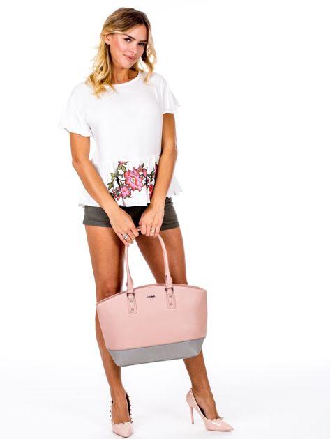 Różowa torba damska two tone                              zdj.                              5