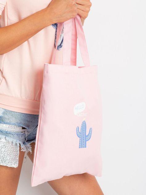 Różowa torba materiałowa z nadrukiem                              zdj.                              3
