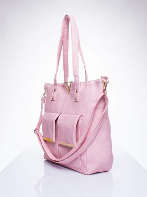 Różowa torba shopper bag ze kieszeniami na klapki                                  zdj.                                  2