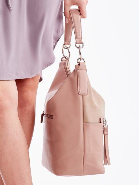 Różowa torba z łączonych materiałów                              zdj.                              3