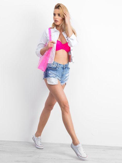 Różowa transparentna torba w grochy                              zdj.                              2