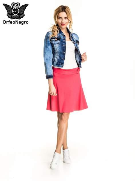 Różowa trapezowa spódnica z paskiem z klamrą                                  zdj.                                  4