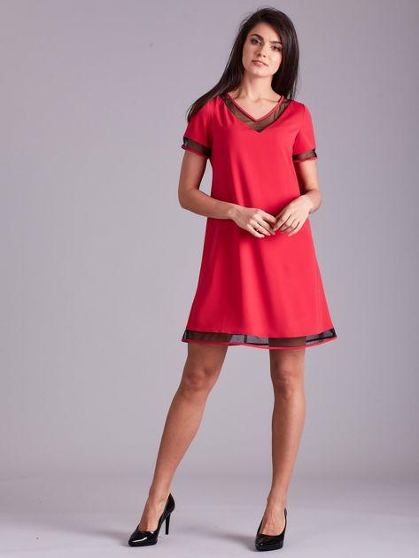 Różowa trapezowa sukienka                              zdj.                              4