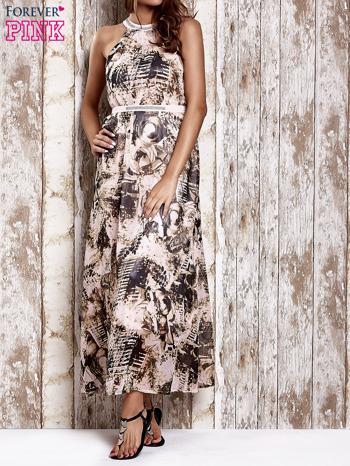 Różowa wzorzysta sukienka maxi z dżetami                                   zdj.                                  1