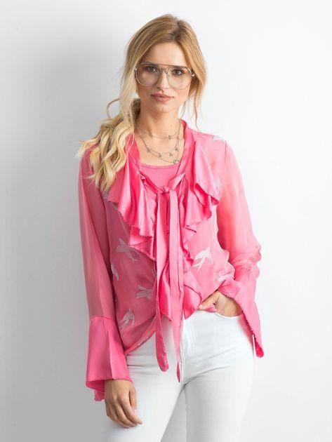 Różowa zwiewna bluzka mgiełka