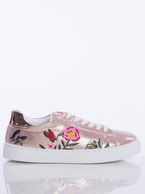 Różowe Glitter  trampki z ozdobnymi naszywkami na cholewce