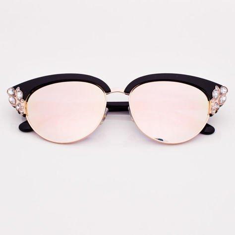Różowe Lustrzane Okulary przeciwsłoneczne z Kryształami                              zdj.                              1