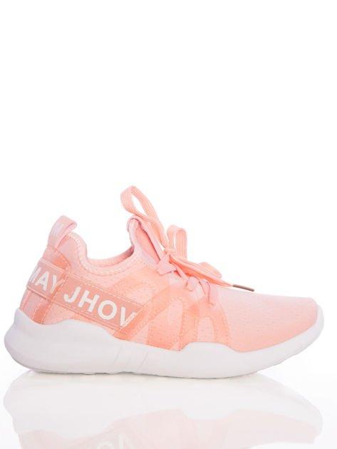 Różowe ażurowe buty sportowe Rue Paris z przezroczystymi szlufkami i białymi napisami                              zdj.                              1