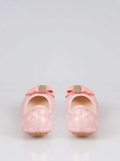 Różowe baleriny sparkling melange na gumkę                                   zdj.                                  3
