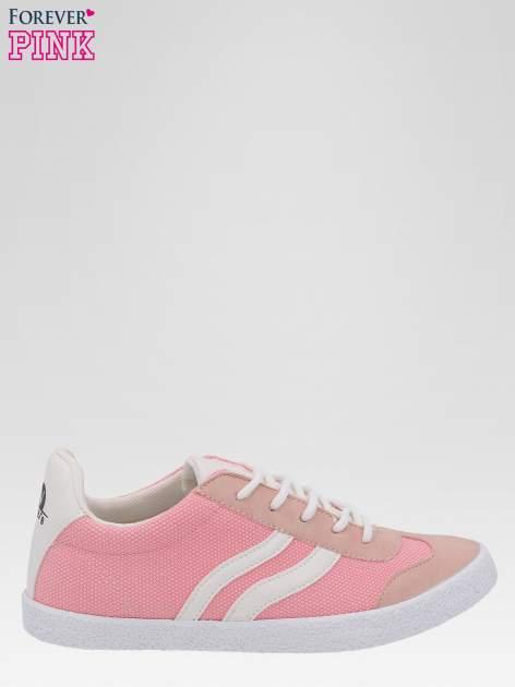 Różowe buty sportowe faux leather Cupcake w stylu casual                                  zdj.                                  1
