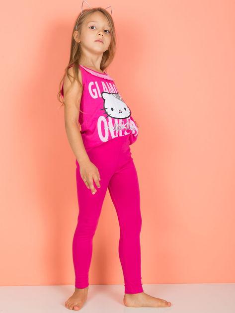 Różowe gładkie legginsy dla dziewczynki