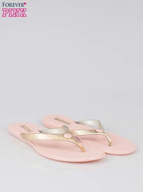 Różowe japonki silicone Summertime ze złotym paskiem                                  zdj.                                  2
