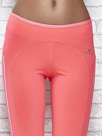 Różowe legginsy 3/4 sportowe termalne z lampasami                                  zdj.                                  4