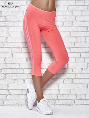 Różowe legginsy 3/4 sportowe termalne z lampasami                                  zdj.                                  1
