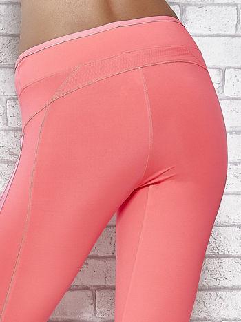 Różowe legginsy 3/4 sportowe termalne z lampasami                                  zdj.                                  6