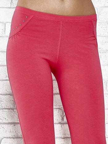 Różowe legginsy sportowe 7/8 z wiązaniem                                  zdj.                                  4