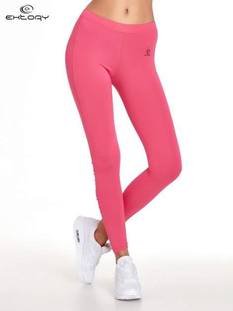 Różowe legginsy sportowe termalne z drapowaniem                                  zdj.                                  1
