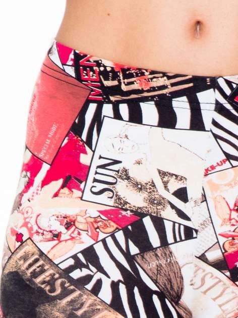 Różowe legginsy z nadrukiem magazines print                                  zdj.                                  5