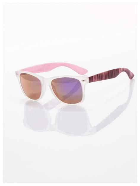 Różowe  lustrzanki z filtrami UV okulary z klasyczną oprawką WAYFARER NERD z efektem mlecznej szyby -odporne na wyginania                                  zdj.                                  1