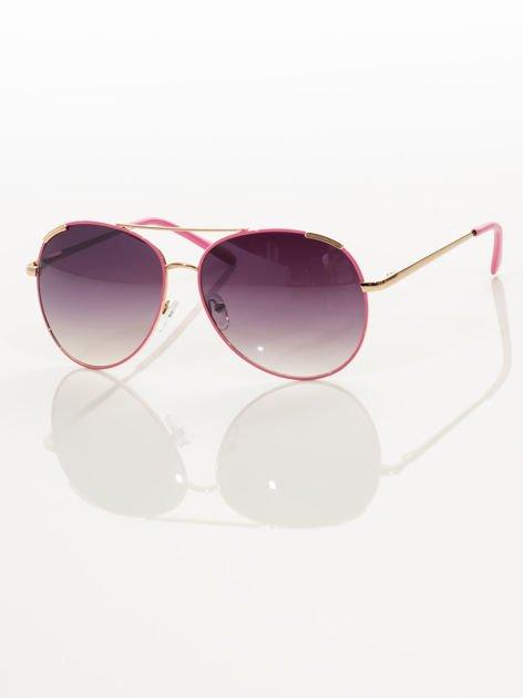 Różowe pilotki okulary przeciwsłoneczne typu AVIATOR                                  zdj.                                  4