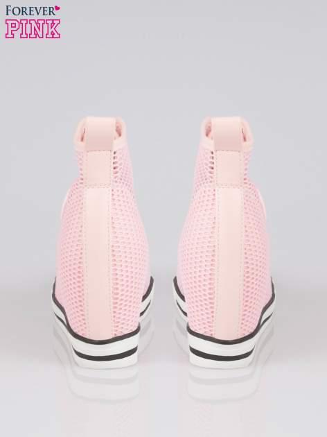 Różowe siateczkowe sneakersy damskie                                  zdj.                                  3