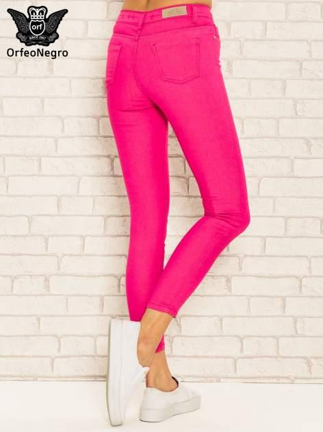 Różowe spodnie rurki skinny z kieszeniami                                  zdj.                                  4