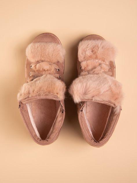 Różowe sznurowane sneakersy Keris z zamszu z perłową podeszwą                                  zdj.                                  2