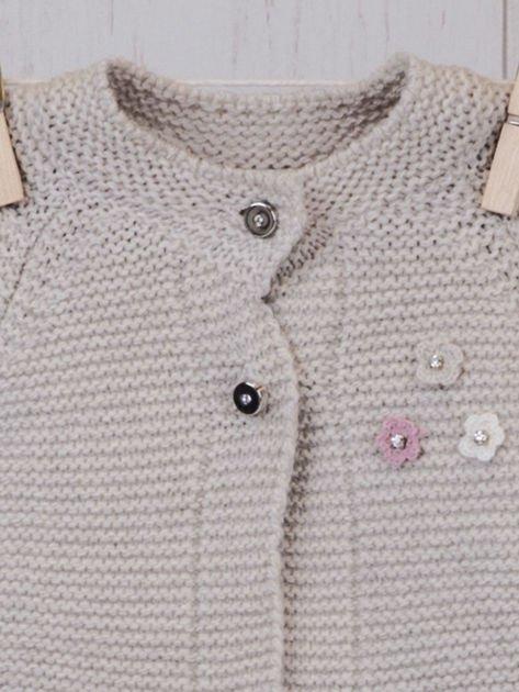 Różowo-beżowy ciepły niemowlęcy 3-częściowy komplet z sukieneczką i sweterkiem dla dziewczynki na co dzień i na specjalne okazje                              zdj.                              2
