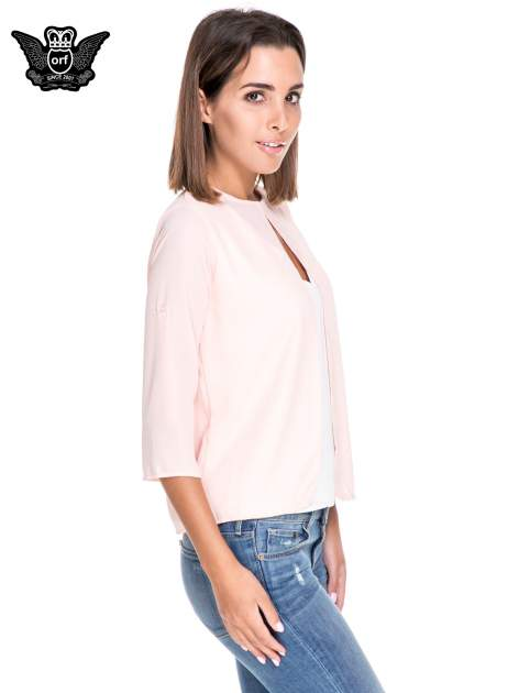 Różowo-biała dwuwarstwowa koszula o kroju narzutki                                  zdj.                                  3