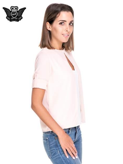 Różowo-biała dwuwarstwowa koszula o kroju narzutki                                  zdj.                                  5