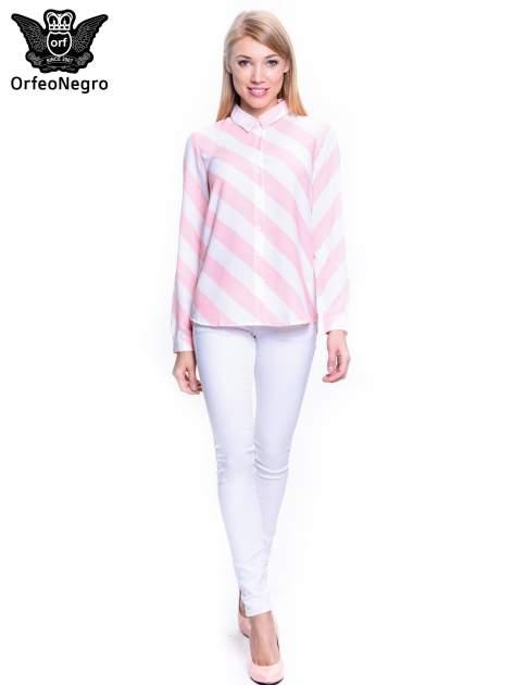 Różowo-biała koszula w skośne pasy                                  zdj.                                  2