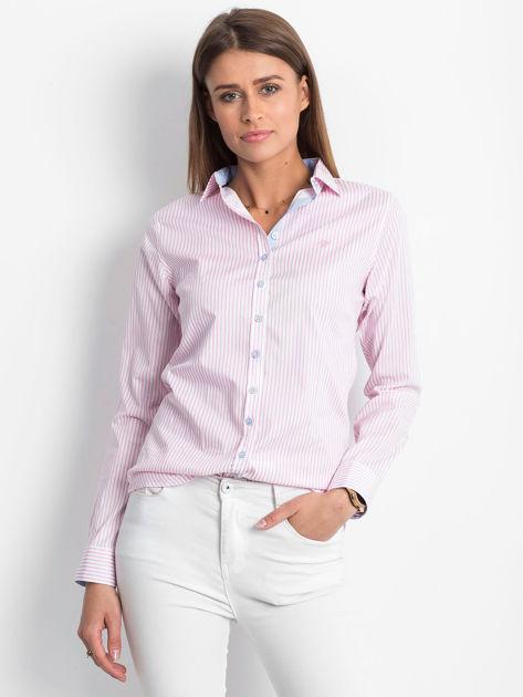 Różowo-biała koszula we wzór pasków                              zdj.                              1