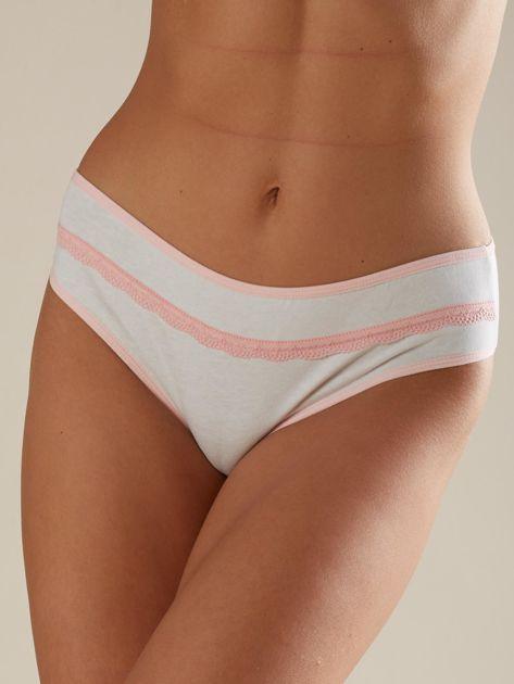Różowo-białe wzorzyste majtki damskie                              zdj.                              6