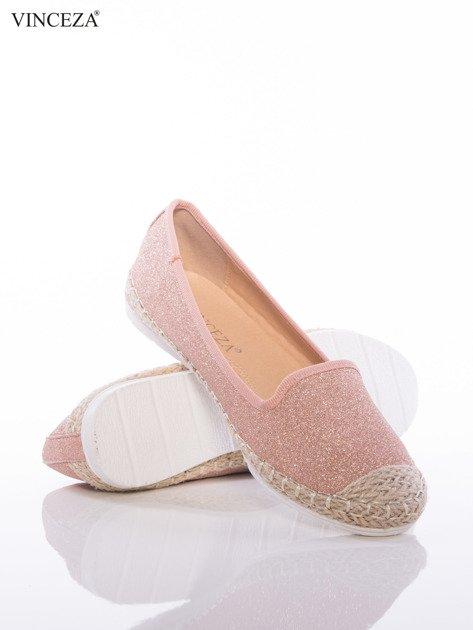 Różowo-brokatowe baleriny Vinceza z plecioną lamówką dookoła podeszwy                              zdj.                              4