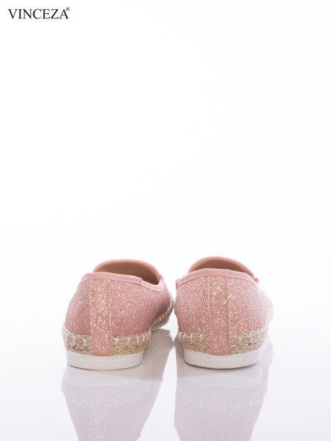 Różowo-brokatowe baleriny Vinceza z plecioną lamówką dookoła podeszwy                              zdj.                              3