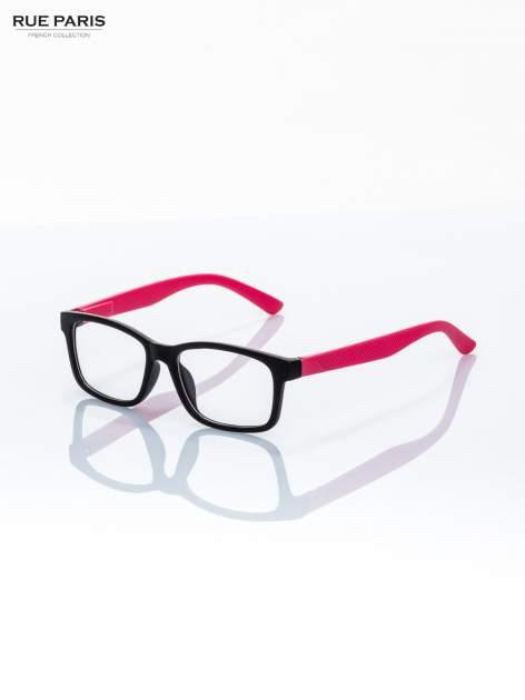 Różowo-czarne okulary zerówki kujonki typu WAYFARER NERDY matowe                                  zdj.                                  4