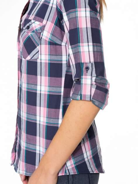 Różowo-granatowa koszula w kratę z kieszeniami                                  zdj.                                  6