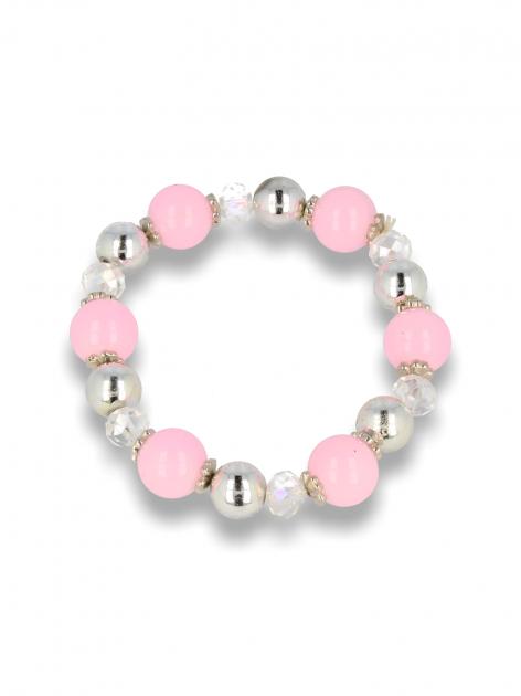 Różowo - srebrna Bransoletka koralikowa                                  zdj.                                  1