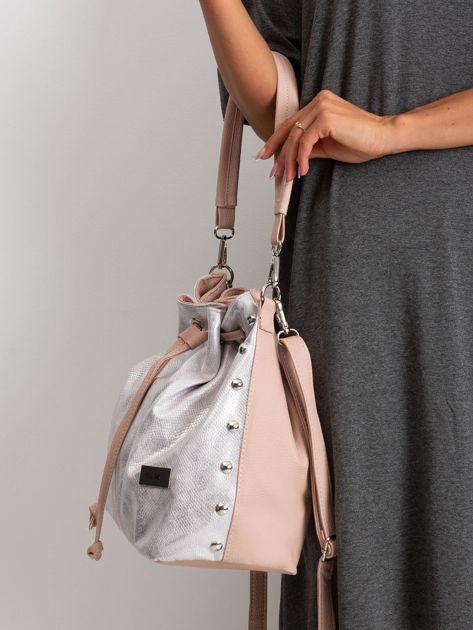 Różowo-srebrna torebka ze ściągaczem                              zdj.                              3